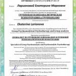 Международный сертификат Ларионова Екатерина Марковна
